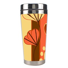 Amber Yellow Stripes Leaves Floral Stainless Steel Travel Tumblers