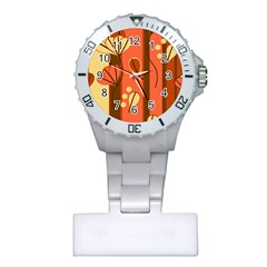 Amber Yellow Stripes Leaves Floral Plastic Nurses Watch