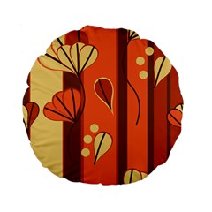 Amber Yellow Stripes Leaves Floral Standard 15  Premium Flano Round Cushions