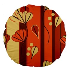 Amber Yellow Stripes Leaves Floral Large 18  Premium Flano Round Cushions