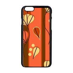 Amber Yellow Stripes Leaves Floral Iphone 6/6s Black Enamel Case