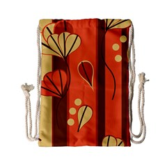 Amber Yellow Stripes Leaves Floral Drawstring Bag (small)