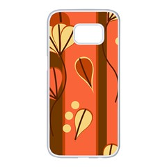 Amber Yellow Stripes Leaves Floral Samsung Galaxy S7 Edge White Seamless Case