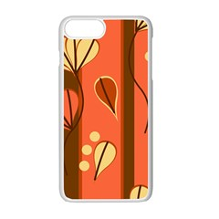 Amber Yellow Stripes Leaves Floral Iphone 7 Plus Seamless Case (white)