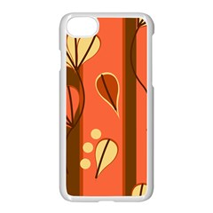 Amber Yellow Stripes Leaves Floral Iphone 7 Seamless Case (white)