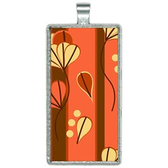 Amber Yellow Stripes Leaves Floral Rectangle Necklace
