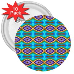 Abstract Colorful Unique 3  Buttons (10 Pack)