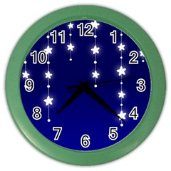 Star Background Blue Color Wall Clock