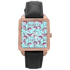 Flemish Rosa Birds Nature Fauna Flamenco Rose Gold Leather Watch
