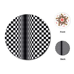 Art Optical Black White Contrast Playing Cards (round)