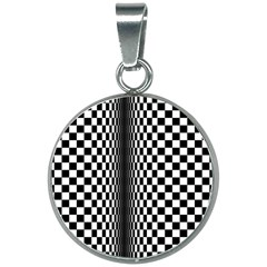 Art Optical Black White Contrast 20mm Round Necklace