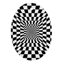 Optical Illusion Chessboard Tunnel Ornament (oval)