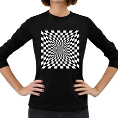 Optical Illusion Chessboard Tunnel Women s Long Sleeve Dark T Shirt by Pakrebo
