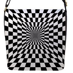 Optical Illusion Chessboard Tunnel Flap Closure Messenger Bag (s)