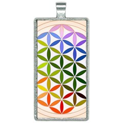 Mandala Rainbow Colorful Reiki Rectangle Necklace