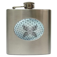 Graphic Pattern Wing Art Hip Flask (6 Oz)