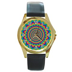 Psychedelic Colours Vibrant Rainbow Round Gold Metal Watch