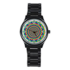 Psychedelic Colours Vibrant Rainbow Stainless Steel Round Watch