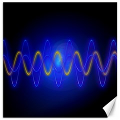 Light Shining Blue Frequency Sine Canvas 12  X 12