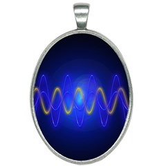 Light Shining Blue Frequency Sine Oval Necklace