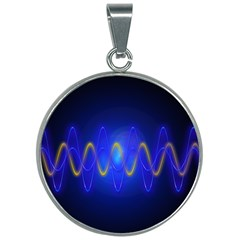 Light Shining Blue Frequency Sine 30mm Round Necklace by Pakrebo
