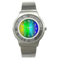 Lines Rainbow Colors Spectrum Color Stainless Steel Watch