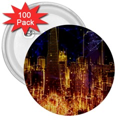City View San Francisco Usa 3  Buttons (100 Pack)