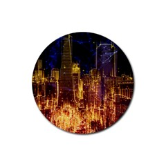 City View San Francisco Usa Rubber Round Coaster (4 Pack)  by Pakrebo