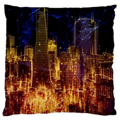 City View San Francisco Usa Large Flano Cushion Case (one Side)