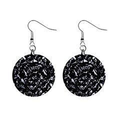 Dark Abstract Print Mini Button Earrings