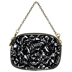 Dark Abstract Print Chain Purse (one Side)