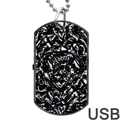 Dark Abstract Print Dog Tag Usb Flash (two Sides)