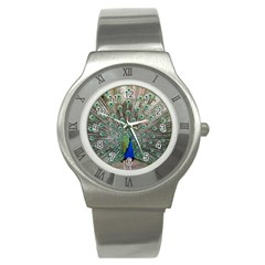Peacock Bird Animal Feather Stainless Steel Watch