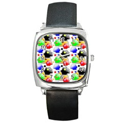 Pattern Background Wallpaper Design Square Metal Watch