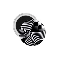 Op Art Black White Drawing 1 75  Magnets