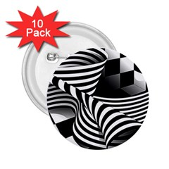 Op Art Black White Drawing 2 25  Buttons (10 Pack)