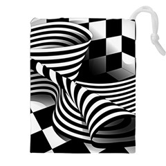 Op Art Black White Drawing Drawstring Pouch (xxl)