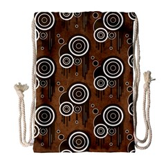 Abstract Background Brown Swirls Drawstring Bag (large)