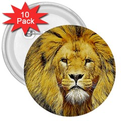 Lion Lioness Wildlife Hunter 3  Buttons (10 Pack)