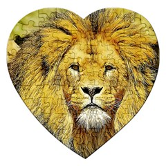 Lion Lioness Wildlife Hunter Jigsaw Puzzle (heart)