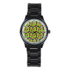 Smiley Background Smiley Grunge Stainless Steel Round Watch