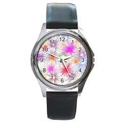 Star Dab Farbkleckse Leaf Flower Round Metal Watch