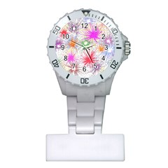 Star Dab Farbkleckse Leaf Flower Plastic Nurses Watch