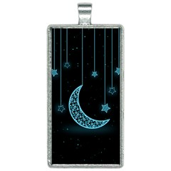 Moon Star Neon Wallpaper Rectangle Necklace