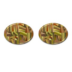 Earth Tones Geometric Shapes Unique Cufflinks (oval)