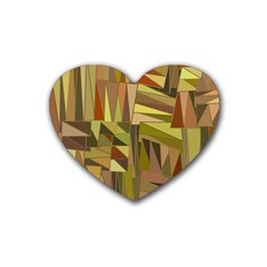 Earth Tones Geometric Shapes Unique Heart Coaster (4 Pack)