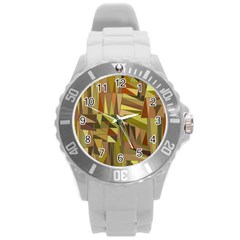Earth Tones Geometric Shapes Unique Round Plastic Sport Watch (l)