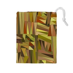 Earth Tones Geometric Shapes Unique Drawstring Pouch (large)