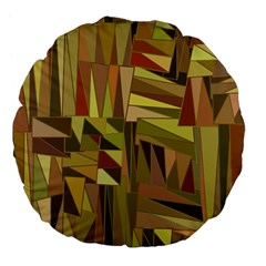 Earth Tones Geometric Shapes Unique Large 18  Premium Flano Round Cushions