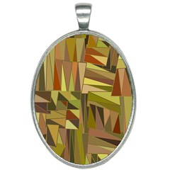 Earth Tones Geometric Shapes Unique Oval Necklace